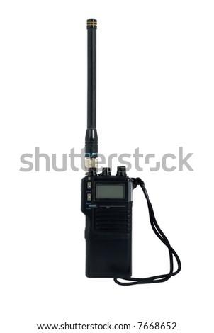 Hand held radio transceiver isolated on white - stock photo