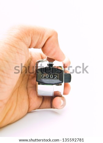 Hand held tally counter isolated on white background