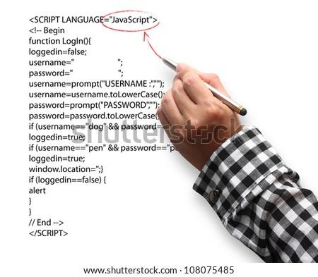 Hand Highlighting Website Java Script - stock photo