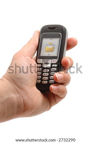 hand hold a Cell phone - stock photo