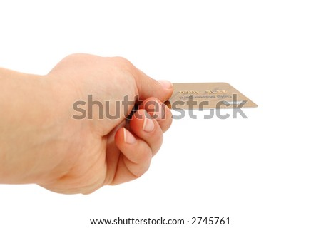 hand hold a credit card - stock photo