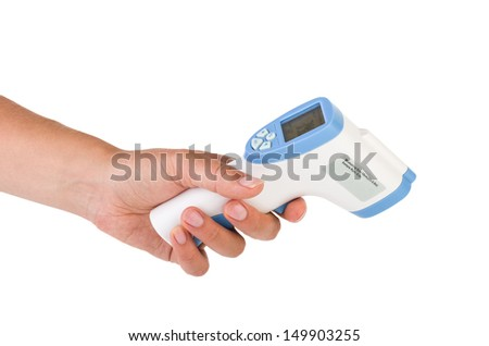 Hand hold a non-contact IR body thermometer isolated on white background - stock photo