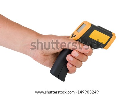 Hand hold a non-contact IR industrial thermometer isolated on white background - stock photo