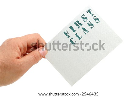 hand hold a note card (business concept)