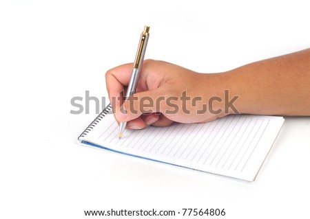 Hand hold a pen writing isolated white background - stock photo