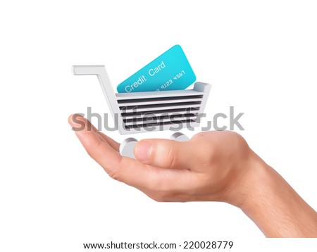 hand hold a Shopping cart symbol on white background
