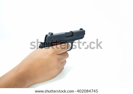 hand hold and aim automatic pistol isolated on white background - stock photo