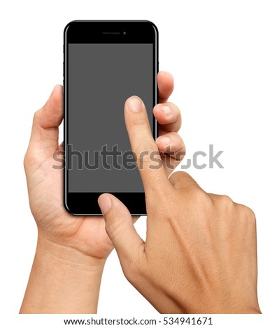 Hand hold and Touch on Curve Screen Smartphone on white background