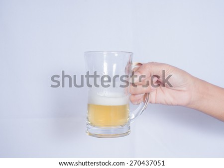 hand hold beer. - stock photo