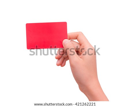 Hand hold blank business card isolated on white background. This picture has clipping path for easy to use. - stock photo
