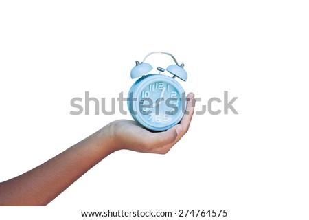 hand hold blue clock on blue background