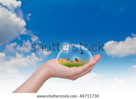 Hand hold Bubbles with flower on grass and butterfly  in the sky - stock photo
