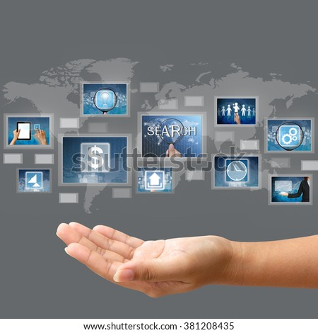 Hand hold business concept on touch screen interface - stock photo