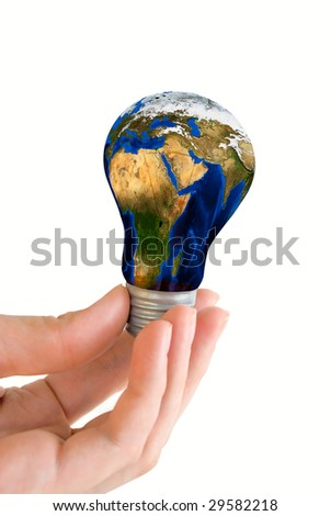 Hand hold earth bulb  isolated on white - stock photo