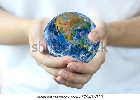 hand hold earth.,  save the world , climate change and global warming concept, environment and forest protection,  Planet world mindset. Elements of this image furnished by NASA