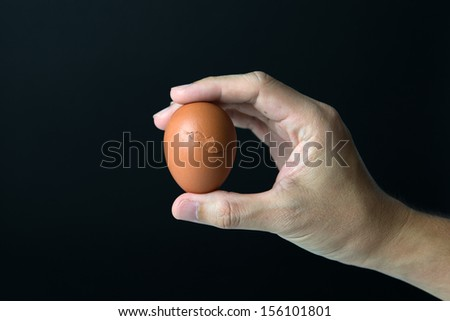 Hand hold egg isolated on black background