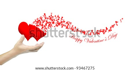 Hand hold heart as Valentine's day card - stock photo