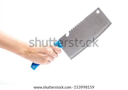Hand hold knife - stock photo