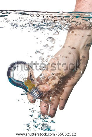 hand hold light bulb in water isolated on white - stock photo