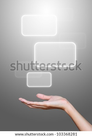 hand hold media icons on gray background.