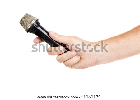hand hold microphone for  interview, isolated