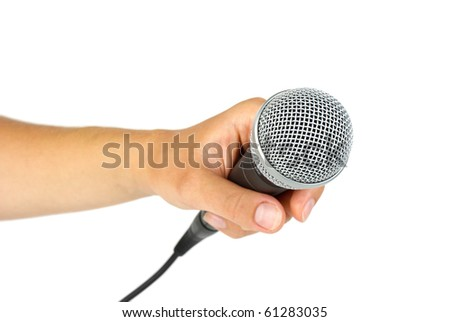 Hand hold microphone  isolated on the white background