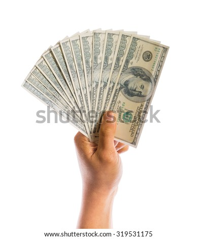 hand hold money in american dollar isolated on white background