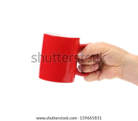Hand hold of red cup isolated on a white background