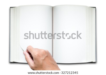 Hand hold open the book on white background - stock photo