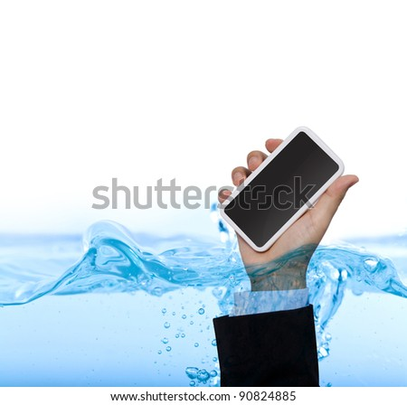 Hand hold phone  in water isolated on white background - stock photo