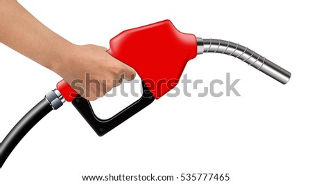 Hand hold red fuel nozzle on a white background