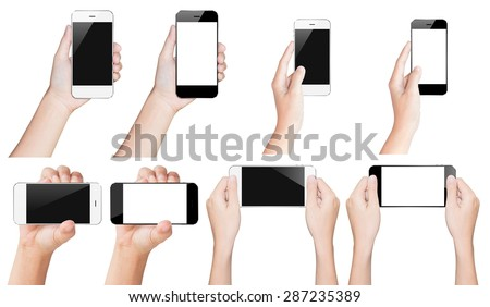 hand hold smartphone black and white isolated with clipping path inside - stock photo
