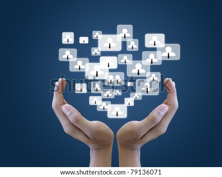 Hand hold social network - stock photo