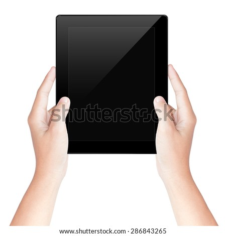 hand hold tablet screen isolated white with clipping path inside - stock photo
