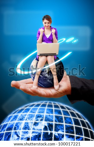 Hand hold the Business woman on globe : Elements of this image furnished by NASA
