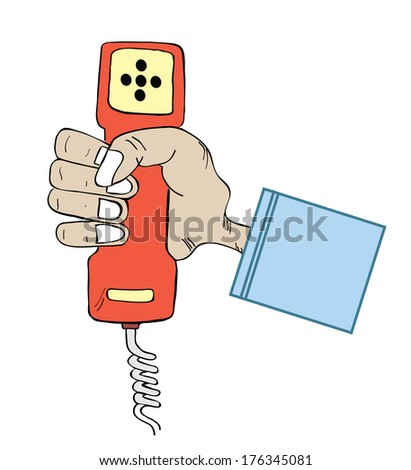 hand hold the phone doodle - stock photo