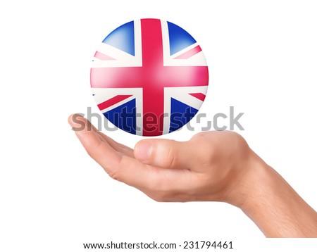 hand hold United Kingdom 3d flag icon on white bakground - stock photo