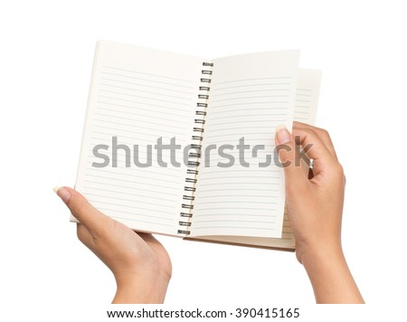 hand hold white blank book isolated on white background