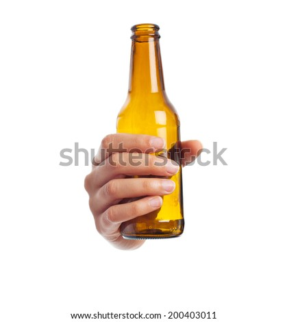 hand holding a beer - stock photo