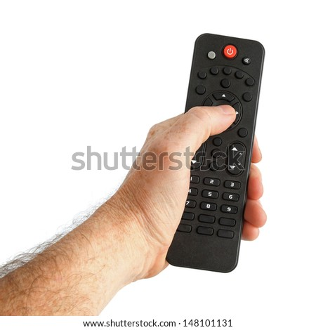 Hand Holding a Black TV Remote Control isolated on white - stock photo