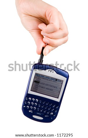 Hand holding a Blackberry cell phone. Isolated on white.