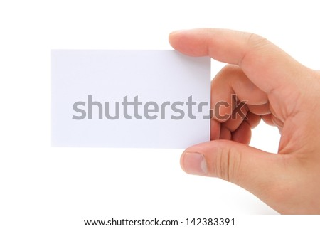 hand holding a blank business card with clipping path, good for text & logo - stock photo
