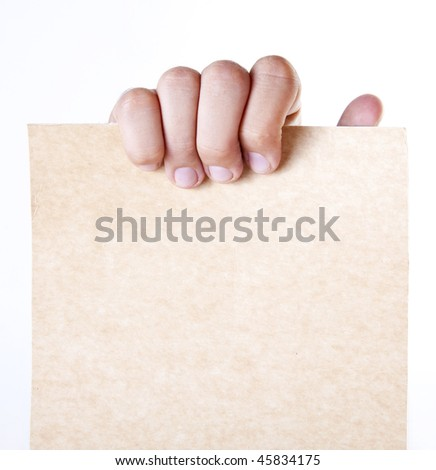 Hand holding a blank cardboard. Space to insert text or design - stock photo