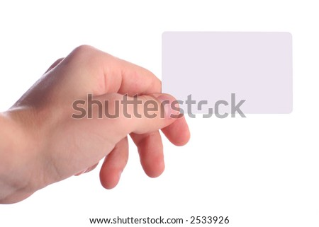 Hand holding a blank white card on a white background