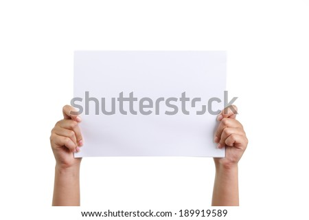 Hand holding a blank white paper isolated - stock photo