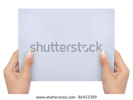 hand holding a blank white paper isolated on white. ready for your ad - stock photo