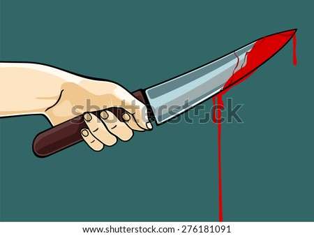 Hand holding a blooded knife (raster version) - stock photo