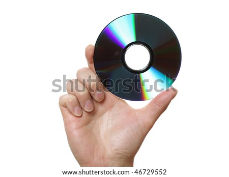 Hand holding a blu-ray disk, DVD or a CD against a white background - stock photo