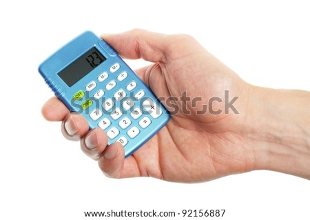 hand holding a blue calculator on white background - stock photo