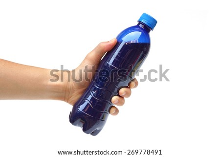 hand holding a bottle of blue soft drinks